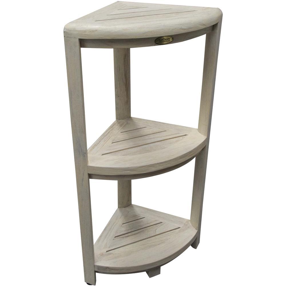 Teak Three Tier Corner Shower Shelf in White Finish - 376707. Picture 6