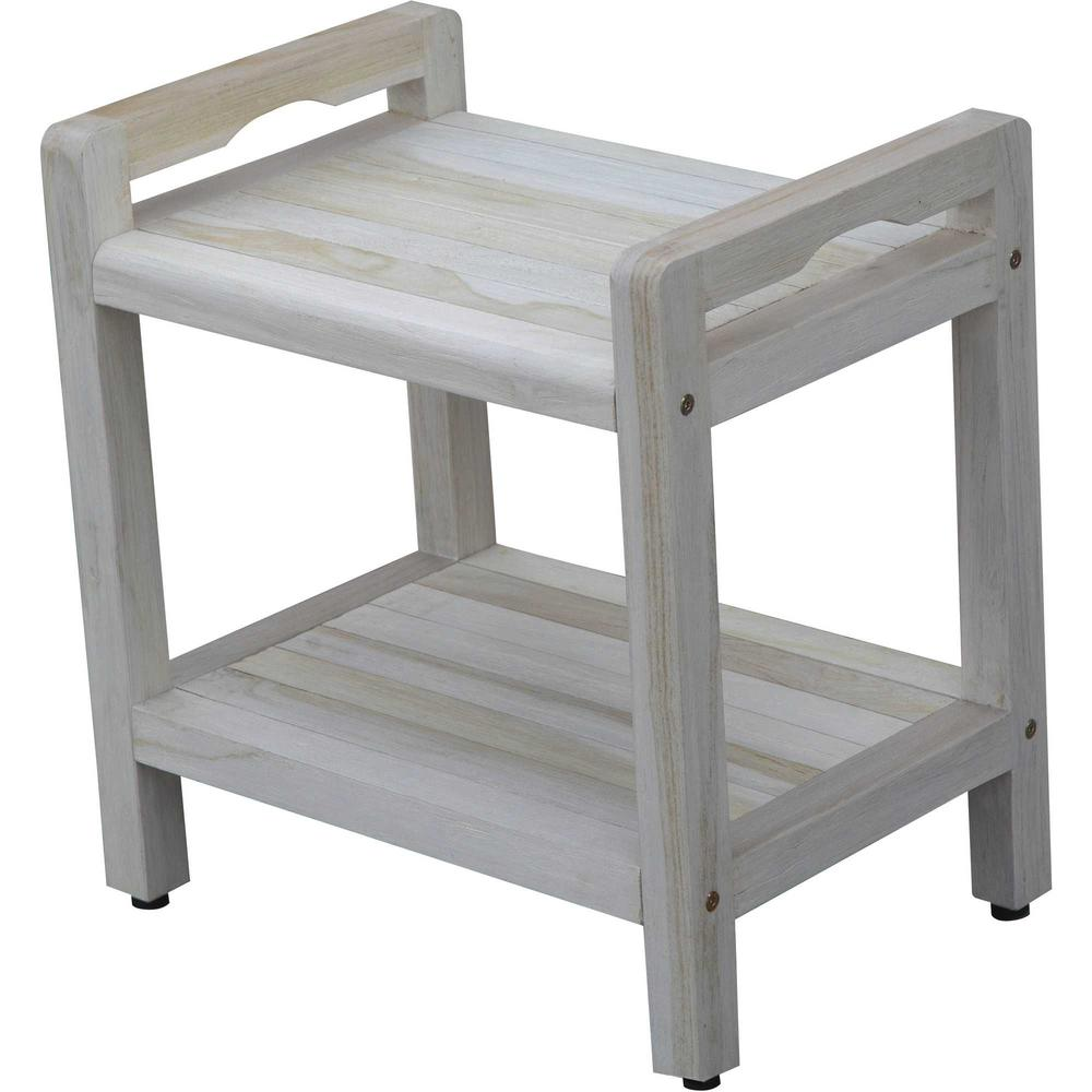 Compact Rectangular Teak Shower Outdoor Bench with Liftaide Arms in Driftwood Finish - 376709. Picture 1