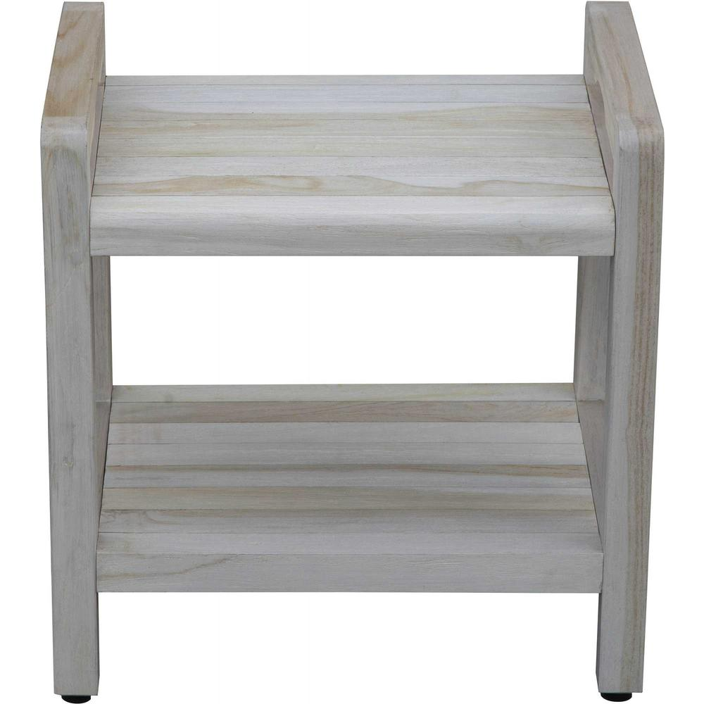 Compact Rectangular Teak Shower Outdoor Bench with Liftaide Arms in Driftwood Finish - 376709. Picture 2