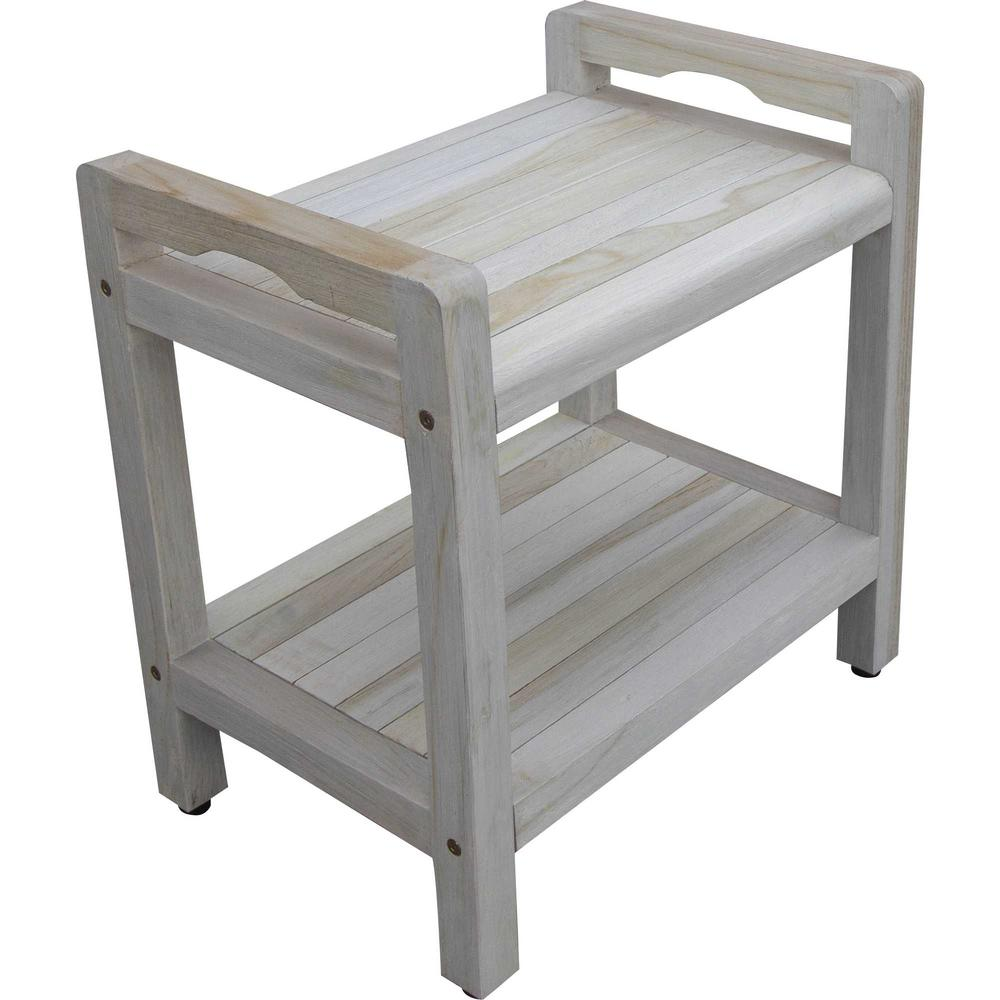Compact Rectangular Teak Shower Outdoor Bench with Liftaide Arms in Driftwood Finish - 376709. Picture 3