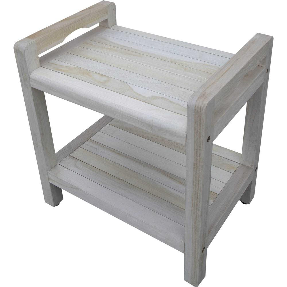 Compact Rectangular Teak Shower Outdoor Bench with Liftaide Arms in Driftwood Finish - 376709. Picture 4