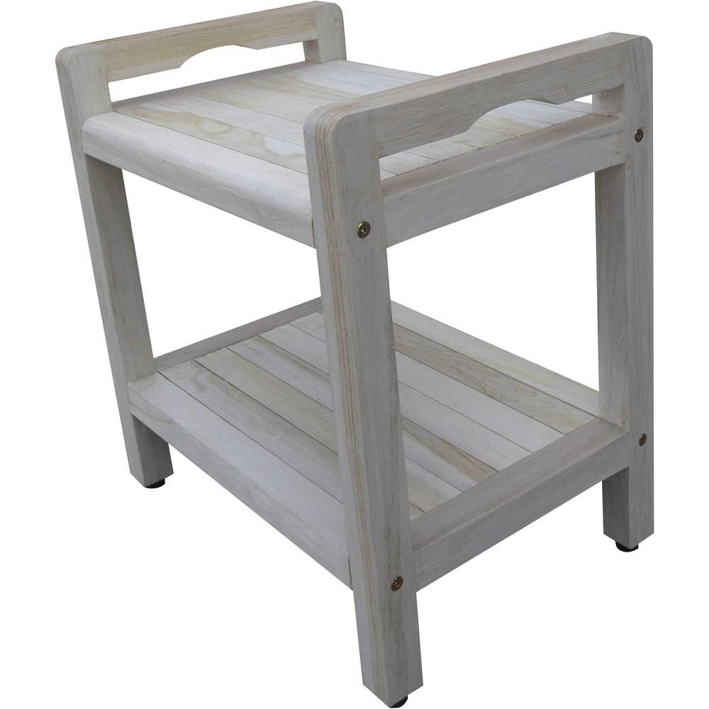 Compact Rectangular Teak Shower Outdoor Bench with Liftaide Arms in Driftwood Finish - 376709. Picture 5