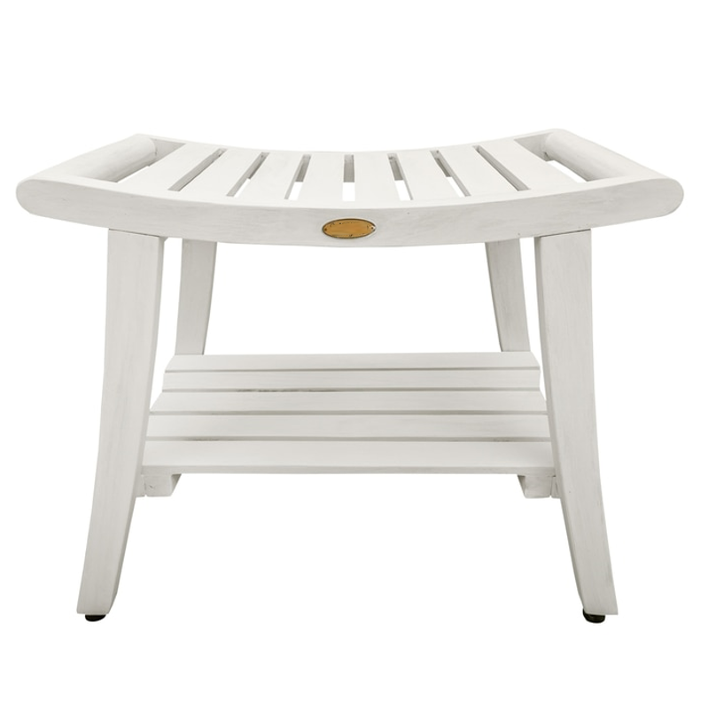 Compact Curviliniear Teak Shower  Outdoor Bench with Shelf in Driftwood Finish - 376711. Picture 1