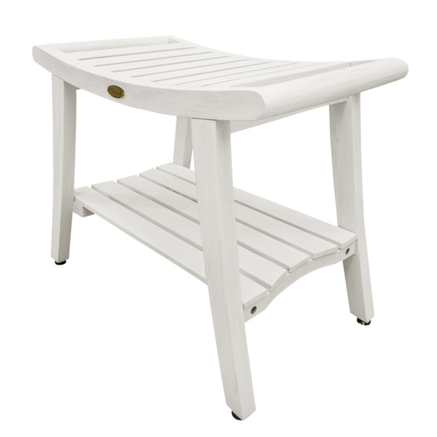 Compact Curviliniear Teak Shower  Outdoor Bench with Shelf in Driftwood Finish - 376711. Picture 2