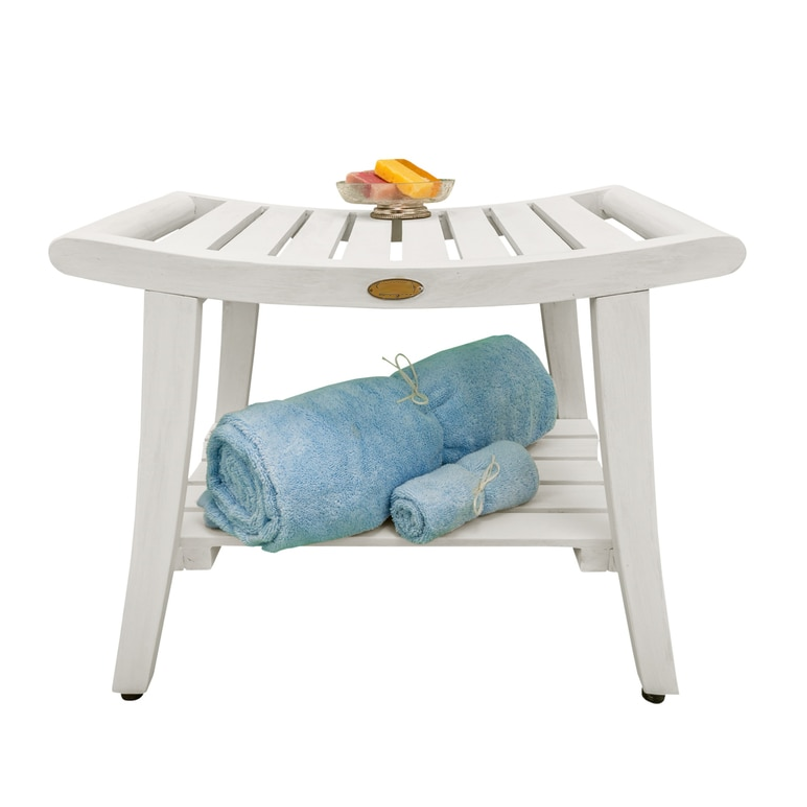 Compact Curviliniear Teak Shower  Outdoor Bench with Shelf in Driftwood Finish - 376711. Picture 3