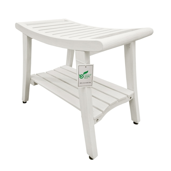 Compact Curviliniear Teak Shower  Outdoor Bench with Shelf in Driftwood Finish - 376711. Picture 4