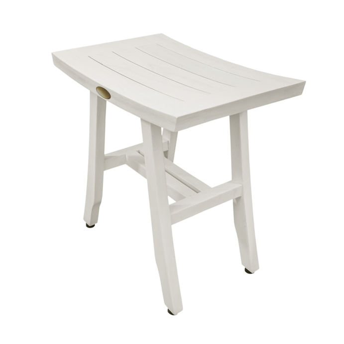 Contemporary Teak Shower Stool in Whitewash Finish - 376712. Picture 1