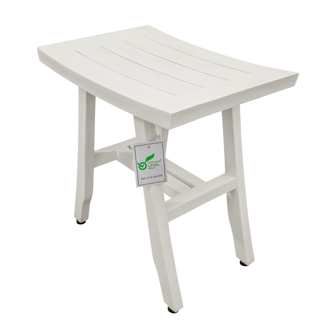 Contemporary Teak Shower Stool in Whitewash Finish - 376712. Picture 2
