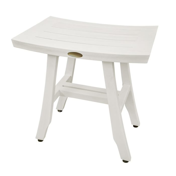 Contemporary Teak Shower Stool in Whitewash Finish - 376712. Picture 4