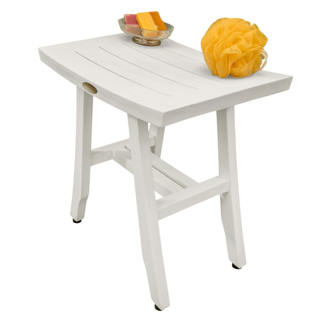 Contemporary Teak Shower Stool in Whitewash Finish - 376712. Picture 5