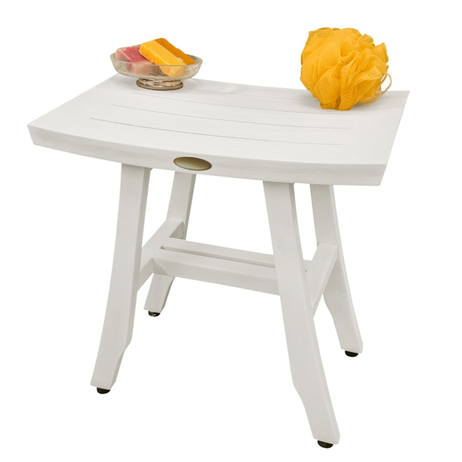 Contemporary Teak Shower Stool in Whitewash Finish - 376712. Picture 6