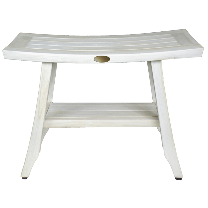 Contemporary Teak Shower Stool or Outdoor Bench in Whitewash Finish - 376713. Picture 1