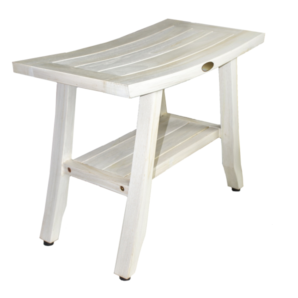 Contemporary Teak Shower Stool or Outdoor Bench in Whitewash Finish - 376713. Picture 2