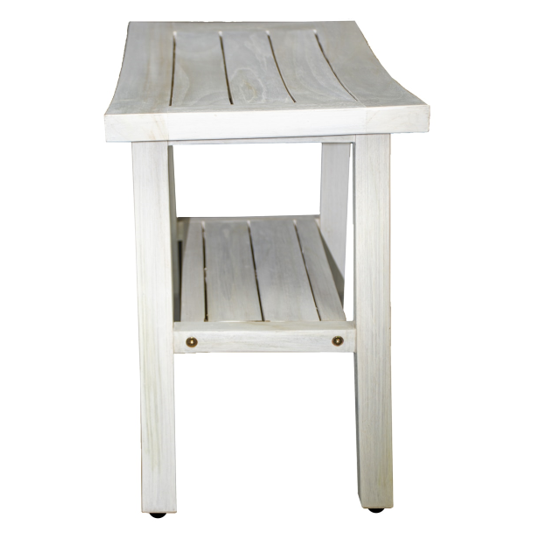 Contemporary Teak Shower Stool or Outdoor Bench in Whitewash Finish - 376713. Picture 3