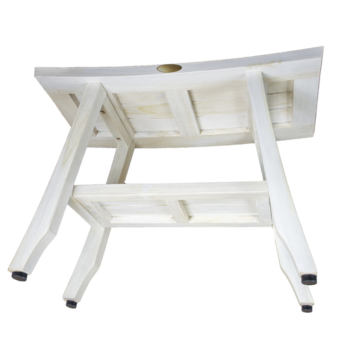 Contemporary Teak Shower Stool or Outdoor Bench in Whitewash Finish - 376713. Picture 4