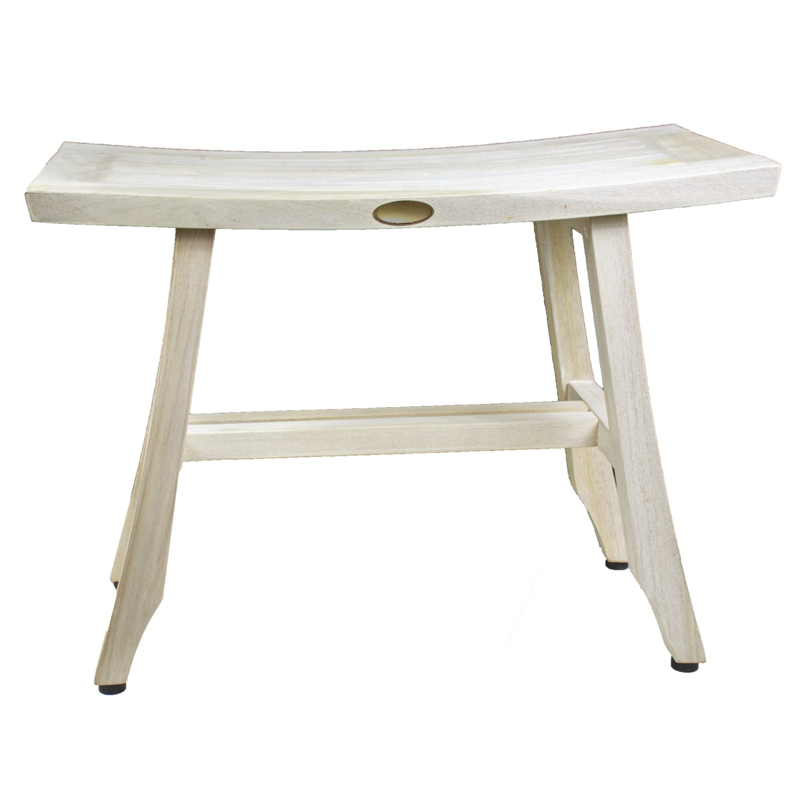 Contemporary Teak Shower Stool or Bench in Whitewash Finish - 376714. Picture 1