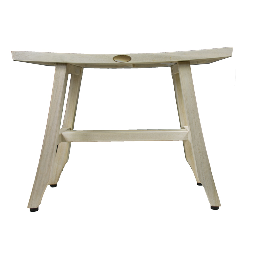Contemporary Teak Shower Stool or Bench in Whitewash Finish - 376714. Picture 2