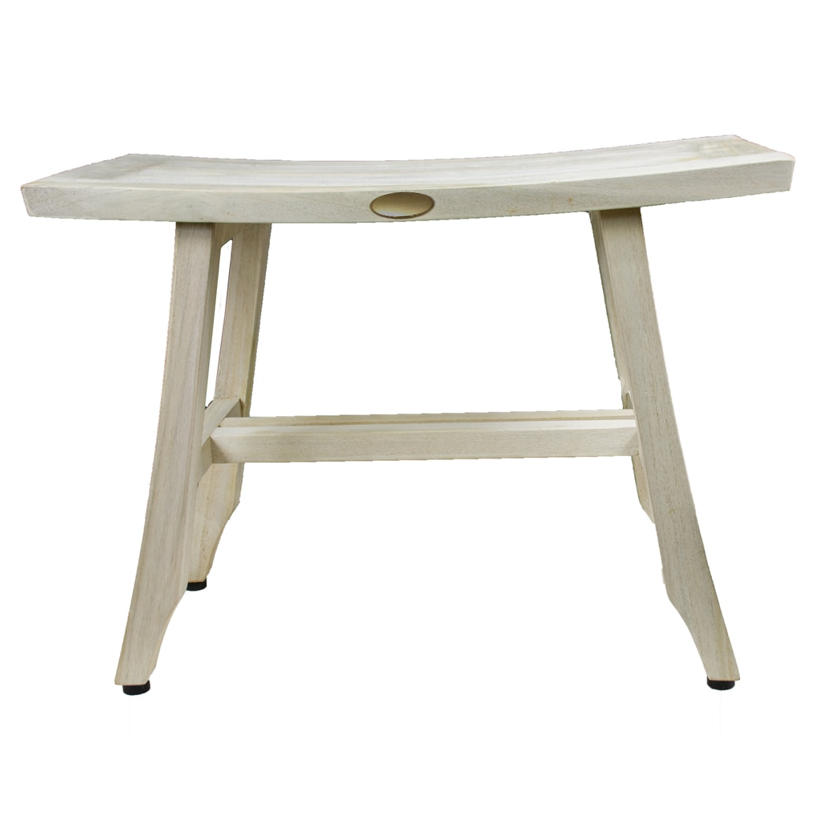 Contemporary Teak Shower Stool or Bench in Whitewash Finish - 376714. Picture 3