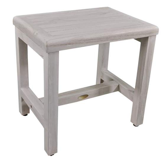 Compact Rectangular Teak Shower or Outdoor Bench in Driftwood Finish - 376715. Picture 3