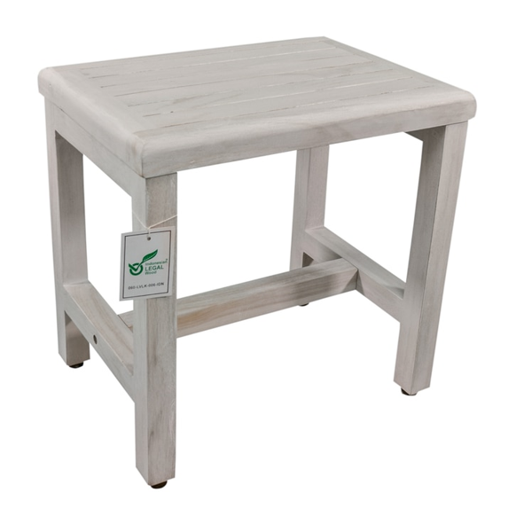 Compact Rectangular Teak Shower or Outdoor Bench in Driftwood Finish - 376715. Picture 4