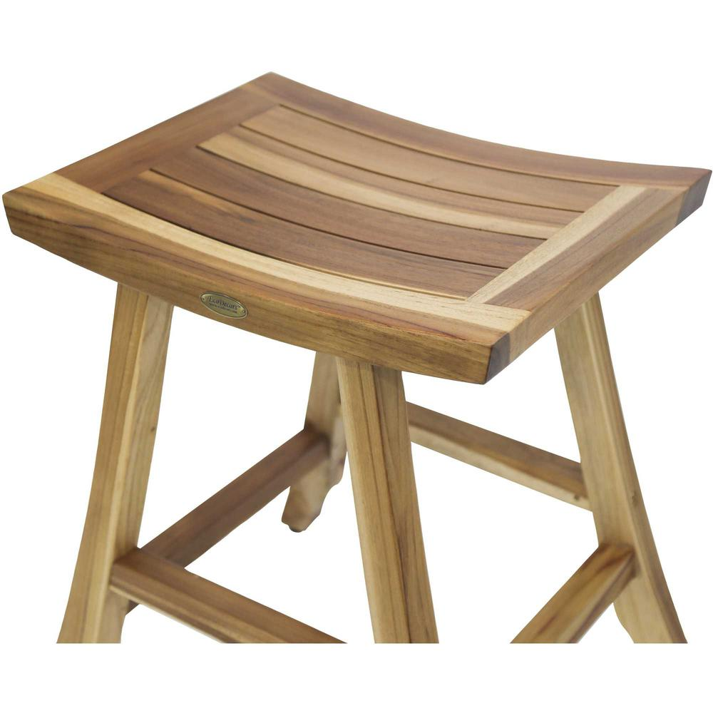 Compact Rectangular Teak Shower Outdoor Bench with Shelf in  Natural Finish - 376716. Picture 4