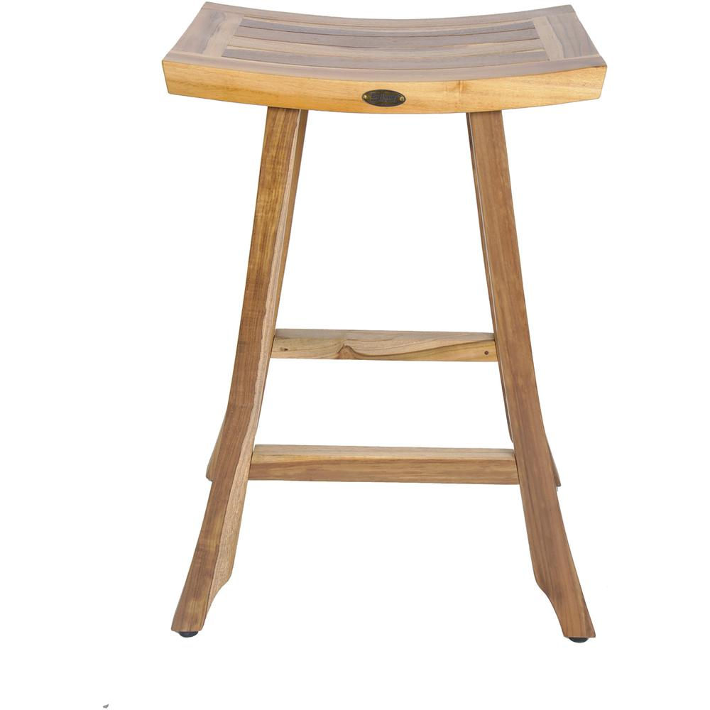 Compact Teak Counter Stool in Natural Finish - 376717. Picture 1