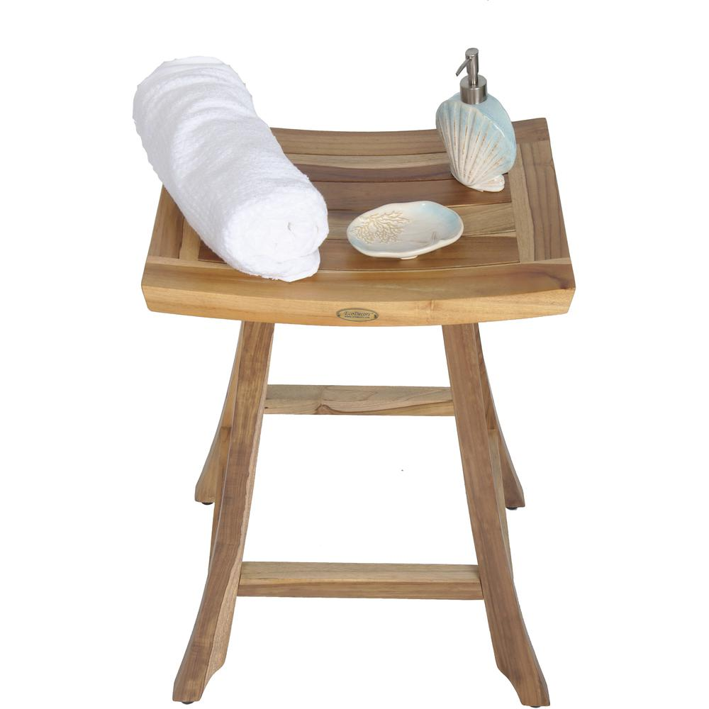 Compact Teak Counter Stool in Natural Finish - 376717. Picture 6