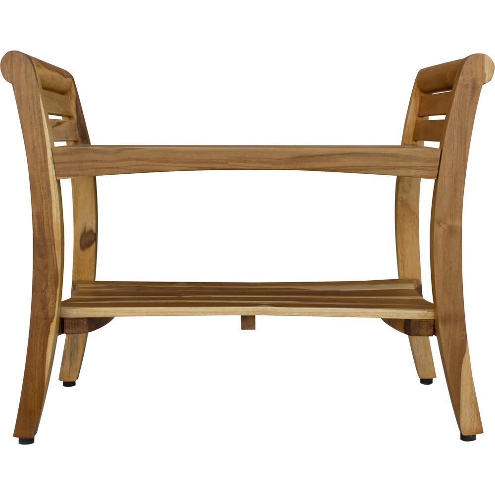 Rectangular Teak Shower Bench with Shelf and Handles in NaturalFinish - 376720. Picture 1