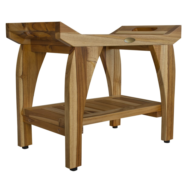 Compact Rectangular Teak Shower Bench with Handles in Natural Finish - 376721. Picture 1