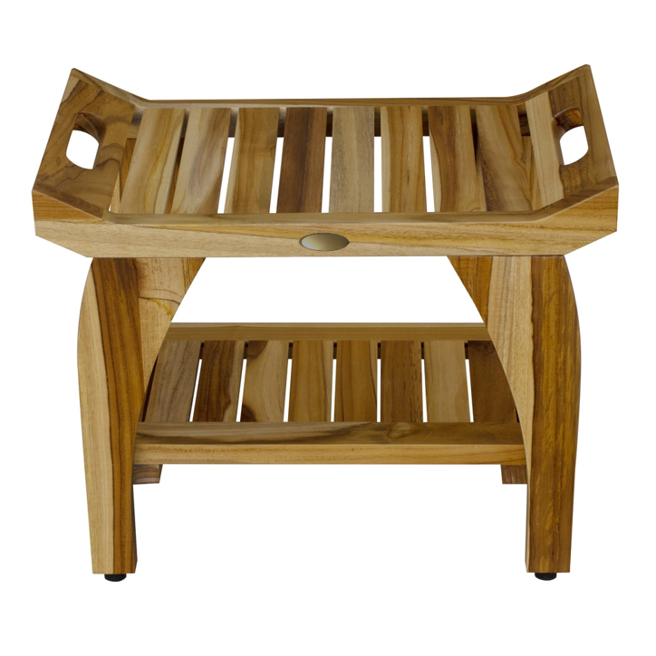 Compact Rectangular Teak Shower Bench with Handles in Natural Finish - 376721. Picture 2