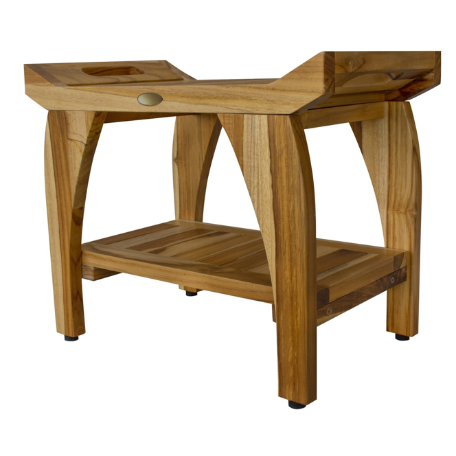 Compact Rectangular Teak Shower Bench with Handles in Natural Finish - 376721. Picture 3