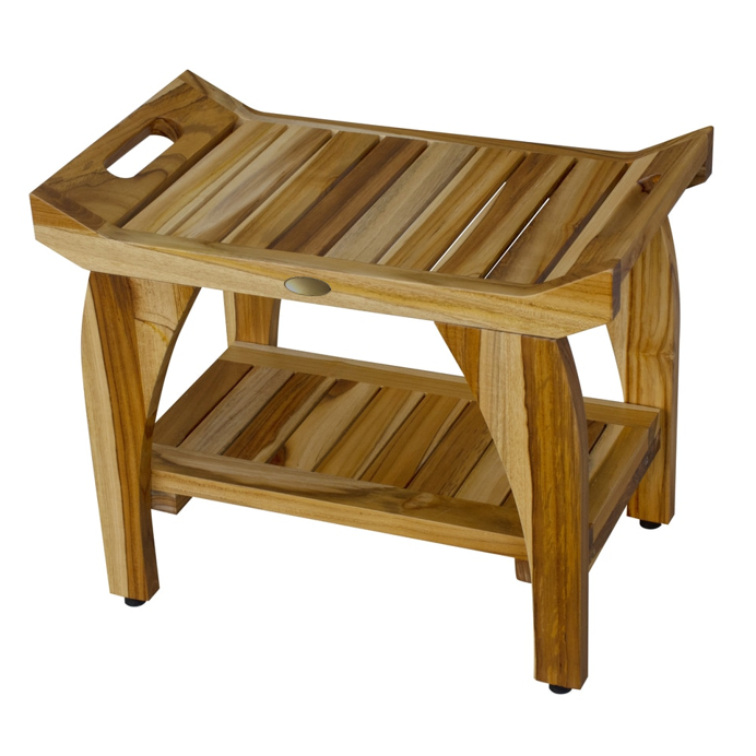 Compact Rectangular Teak Shower Bench with Handles in Natural Finish - 376721. Picture 4