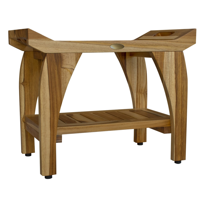 Compact Rectangular Teak Shower Bench with Handles in Natural Finish - 376721. Picture 5