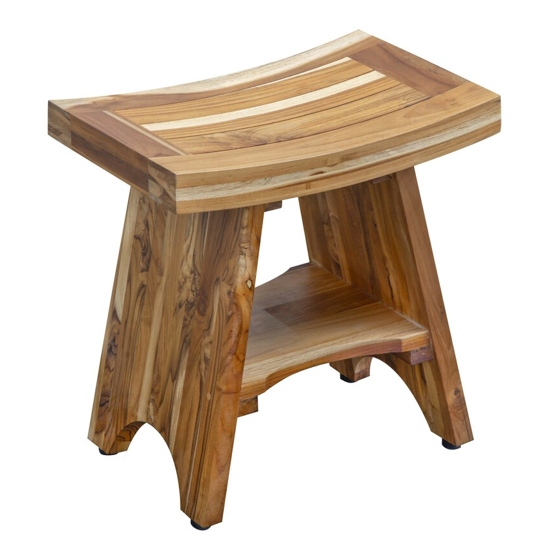 Compact Curvilinear Teak Shower Outdoor Bench with Shelf in Natural Finish - 376725. Picture 1