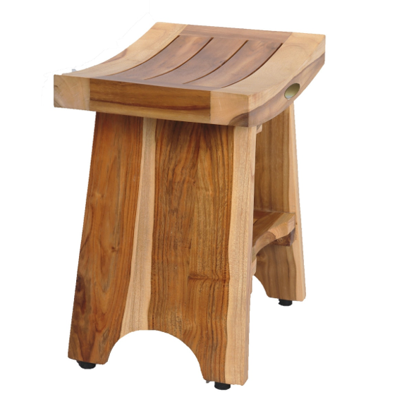 Compact Curvilinear Teak Shower Outdoor Bench with Shelf in Natural Finish - 376725. Picture 2