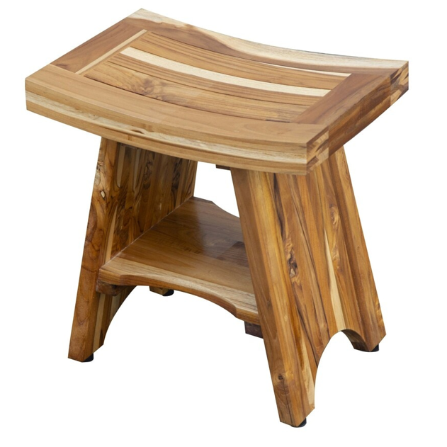 Compact Curvilinear Teak Shower Outdoor Bench with Shelf in Natural Finish - 376725. Picture 3