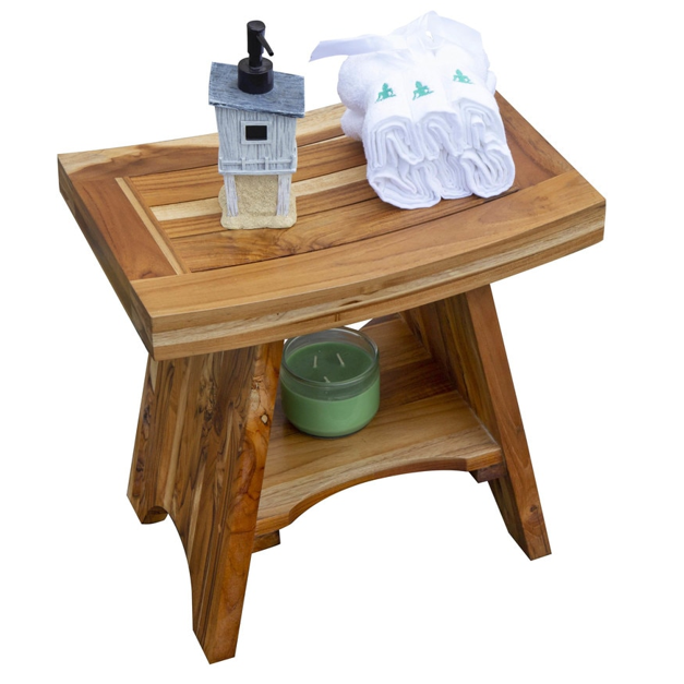 Compact Curvilinear Teak Shower Outdoor Bench with Shelf in Natural Finish - 376725. Picture 4
