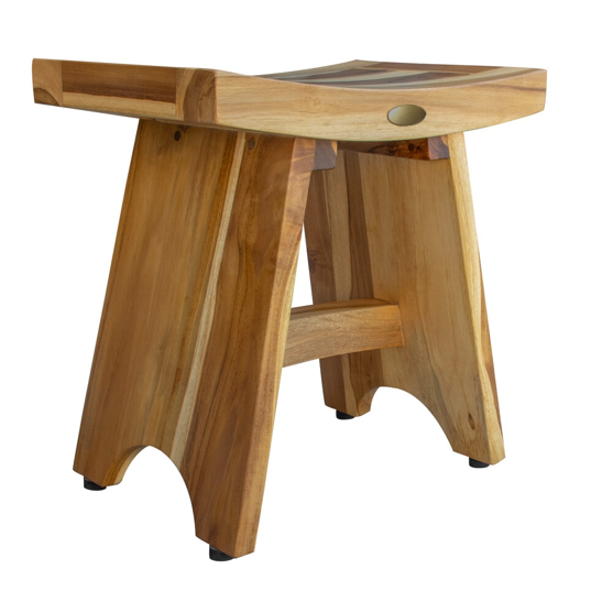 Compact Contemporary Teak Shower Stool in Natural Finish - 376726. Picture 1