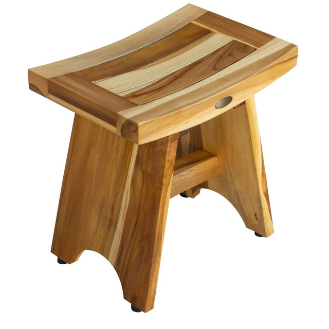 Compact Contemporary Teak Shower Stool in Natural Finish - 376726. Picture 2