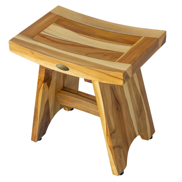 Compact Contemporary Teak Shower Stool in Natural Finish - 376726. Picture 5
