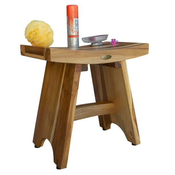 Compact Contemporary Teak Shower Stool in Natural Finish - 376726. Picture 6