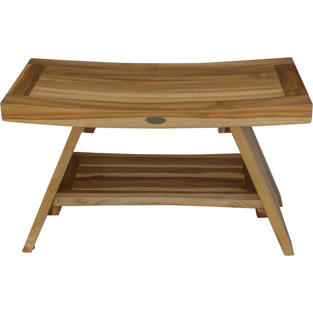 Rectangular Teak Shower Stool or Bench with Shelf in Natural Finish - 376729. Picture 1