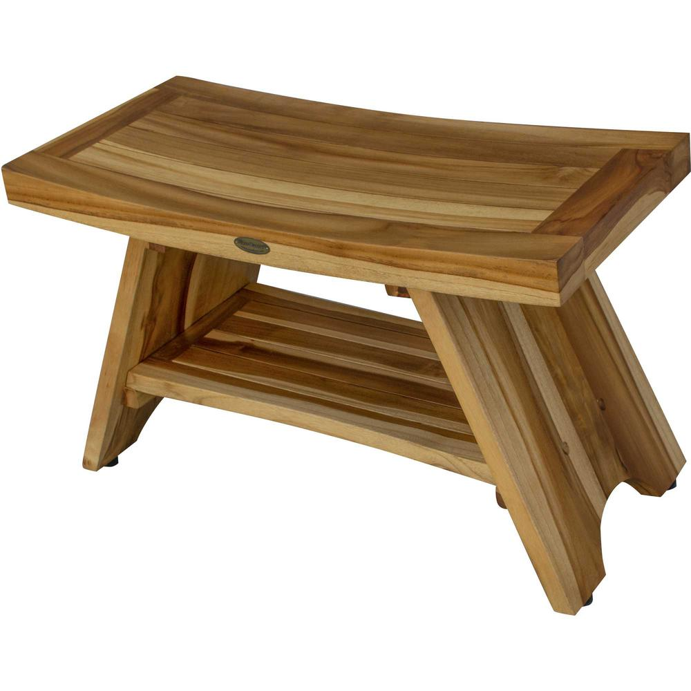 Rectangular Teak Shower Stool or Bench with Shelf in Natural Finish - 376729. Picture 2