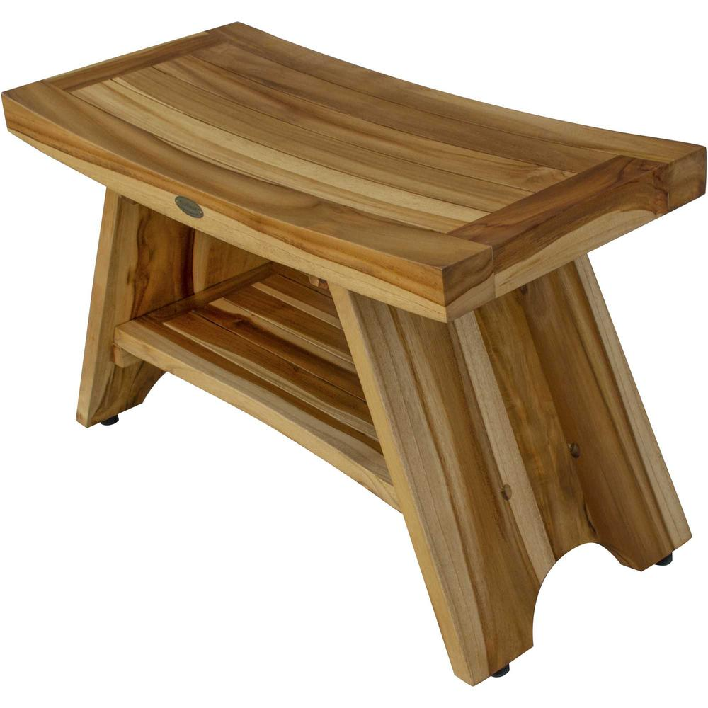 Rectangular Teak Shower Stool or Bench with Shelf in Natural Finish - 376729. Picture 3