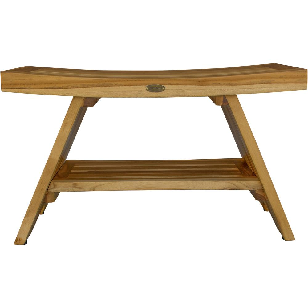 Rectangular Teak Shower Stool or Bench with Shelf in Natural Finish - 376729. Picture 4