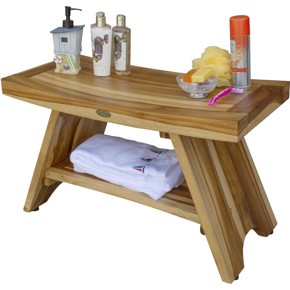 Rectangular Teak Shower Stool or Bench with Shelf in Natural Finish - 376729. Picture 5