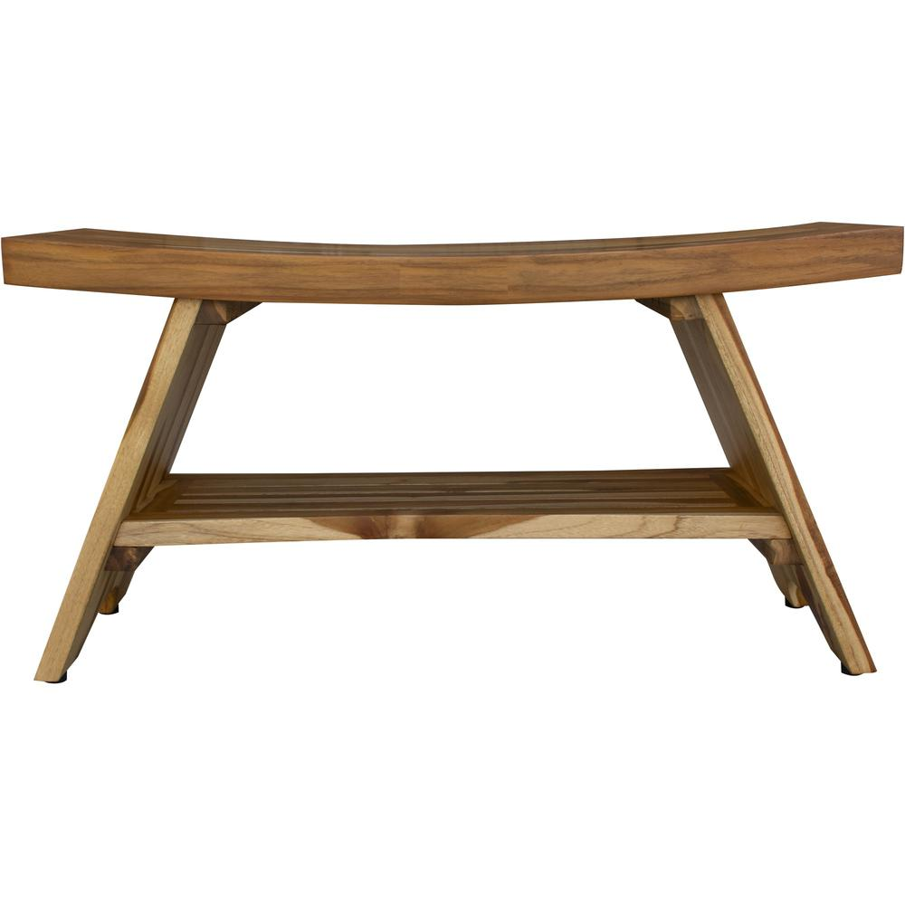 Compact Curvilinear Teak Shower Outdoor Bench with Shelf in Natural Finish - 376730. Picture 1