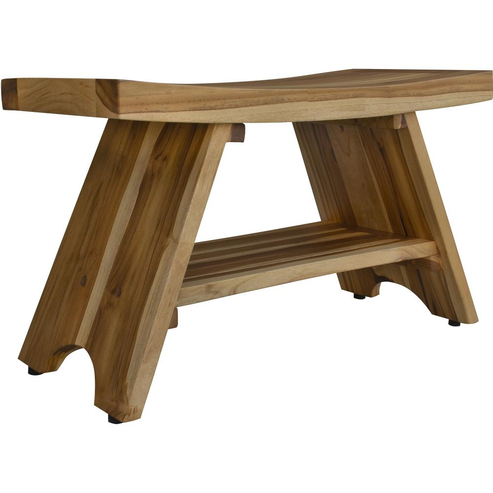 Compact Curvilinear Teak Shower Outdoor Bench with Shelf in Natural Finish - 376730. Picture 2