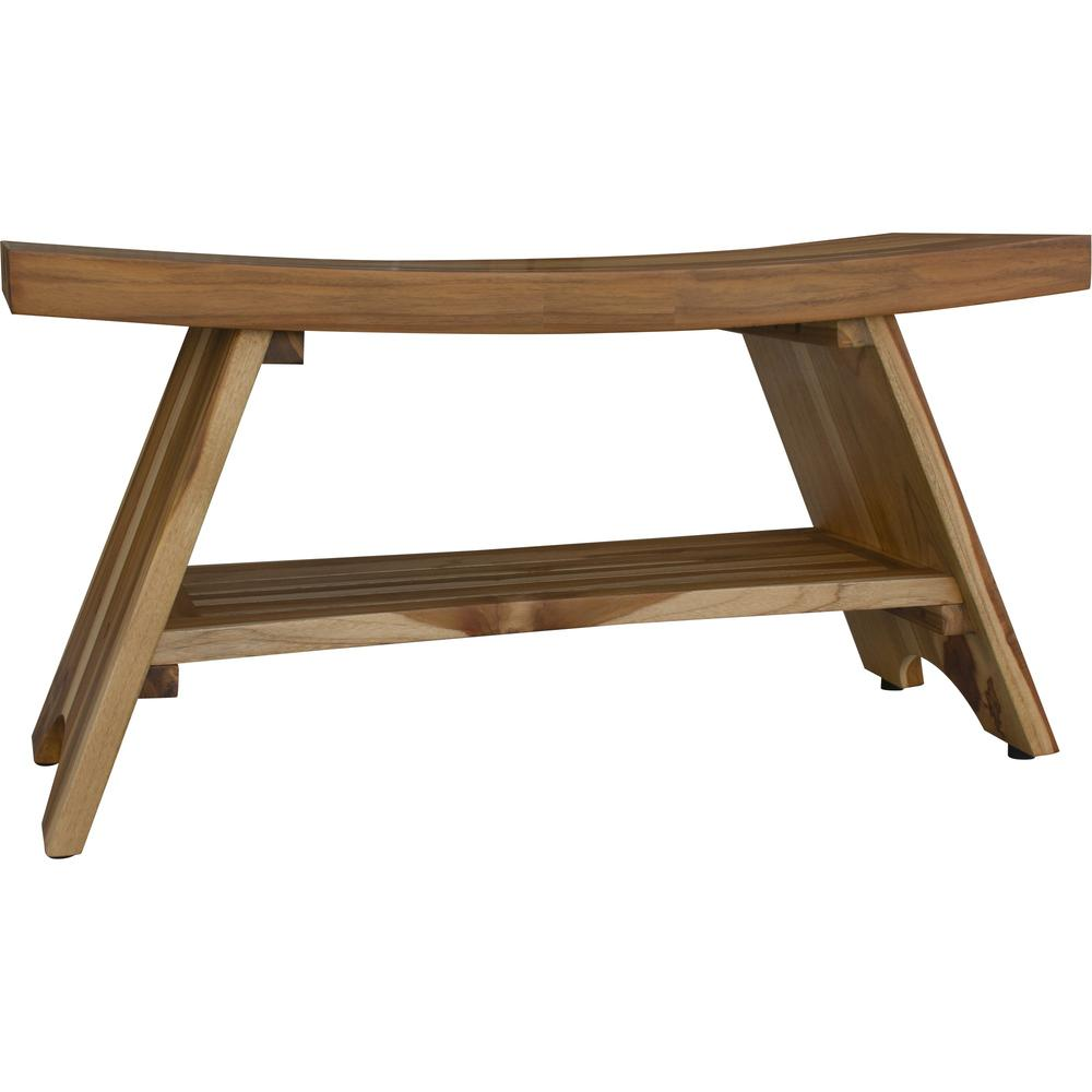 Compact Curvilinear Teak Shower Outdoor Bench with Shelf in Natural Finish - 376730. Picture 3