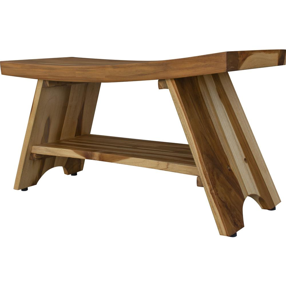 Compact Curvilinear Teak Shower Outdoor Bench with Shelf in Natural Finish - 376730. Picture 4